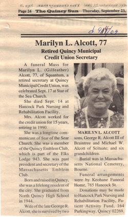Marilyn L <i>Gilfeather</i> Alcott