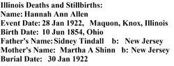 Hannah Ann <i>Tindall</i> Allen