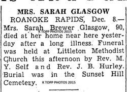 Sarah Alice <i>Brewer</i> Glasgow