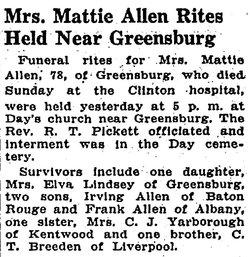 Martha J. Mattie <i>Breeden</i> Allen