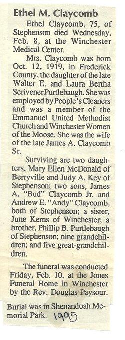 Ethel May <i>Purtlebaugh</i> Claycomb