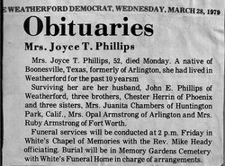 Joyce T <i>Herrin</i> Phillips