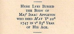 Maj Isaac Appleton