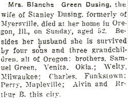 Blanche E. <i>Greene</i> Dusing