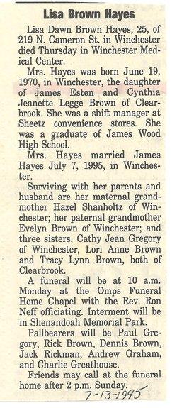 Lisa Dawn <i>Brown</i> Hayes