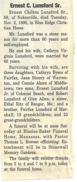 Ernest C Lunsford
