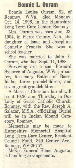 Bonnie Louise <i>Francis</i> Ouram