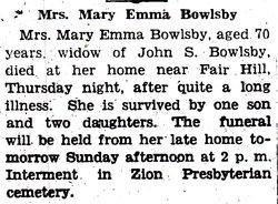 Mary E Bowlsby