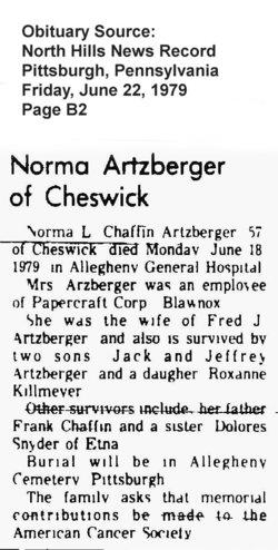 Norma Louise <i>Chaffin</i> Artzberger