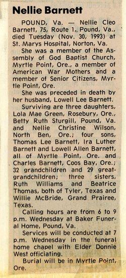 Nellie Cleo <i>New</i> Barnett